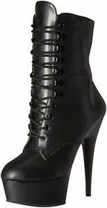 Pleaser DELIGHT 1020 Leder Stiefelette Stiefel schwarz High Heel echtes Leder