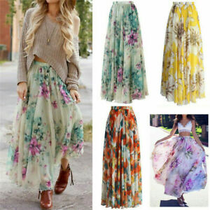 Womens Summer Floral Elastic Waist Skirts Long Maxi Ladies Casual Loose Sundress