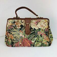 Ladies Vintage Japelle Floral Tapestry Carpet Bag Medium Mary Poppin Tan handle