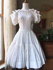 50s Dress White Cotton Damask Ruffles 1950s Vintage Swing Skirt Rhinestones