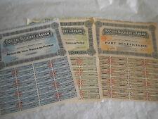 Vintage share certificate Stocks Bonds société sucrière D'Annam set of 3 1929