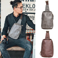 Canvas Waxed Real Leather Sling Bag One Strap Backpack Chest Pack Vintage