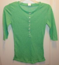 Junk Food Brand Women's Green 3/4 Sleeve 6 Button Top size M NWD