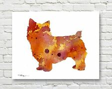 Norwich Terrier Abstract Contemporary Watercolor Art 11 x 14 Print by Djr