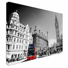 Red bus London Big Ben black & white Canvas Wall Art Picture Print
