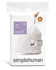 Simplehuman code/size H (30-35 litres) bin bag liner, CW0168 (3 Packs of 20)