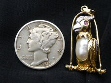 Vintage 14K White & Yellow Gold Baroque Pearl Cockatoo Pendant with Ruby eye
