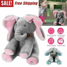 Peek-a-Boo Elephant Stuffed Doll Animated Talking and Singing Plush Toy Baby