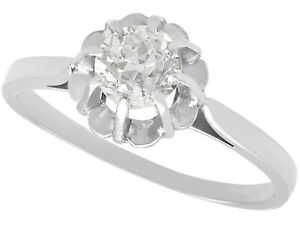 0.68 ct Diamond 18 ct White Gold Solitaire Ring Antique French Circa 1920