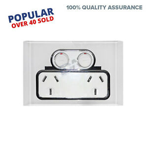 Saturn Double Power Point GPO REAL Glass Crystal Clipsal Compatible