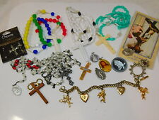 Religious Christian JEWELRY LOT Rosary Cross Medals Medallions Angel 4/7/4