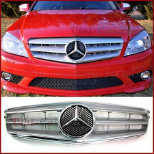 08-11 M-Benz W204 C200 C250 C300 C350 3 Fins Chrome Star Front Grille Silver Set