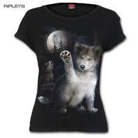 SPIRAL DIRECT Ladies Black Goth Moon WOLF PUPPY T Shirt Top All Sizes