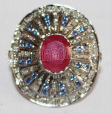3.40ct Rose Cut Diamond Sapphire Ruby Vintage Look Wedding Anniversary Ring