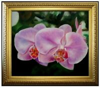 Framed, Two Lavender Orchids, Quality Hand Painted Oil Painting 20x24in