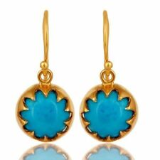 Turquoise 18K Gold Plated 925 Sterling Silver Dangle Earrings Jewelry