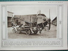 1915 WWI WW1 PRINT ~ AEROPLANE CARRIED ON MOTOR-CAR FOLDED FOR TRANSPORT