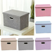 Large Foldable Square Canvas Storage Box Collapsible Fabric Cubes Kids Home