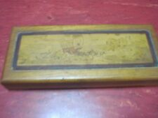 VTG WOOD WALNUT JEWELRY BOX CONESTOGA OXEN COVERED WAGON TRINKET INLAID LEATHER