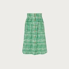 L.K.Bennett Annelin Painterly Check Green Midi Skirt