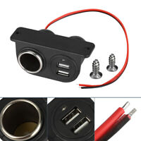 Car C*garette Lighter Auxiliary Dual USB Power Outlet DC 12V Socket-Plug-Adapter