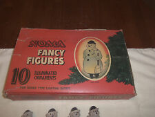 Vintage Noma Fancy Figures Snowmen Celluloid Light Cover Snap On 1950's