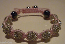 Shamballa White Czech Crystal Bracelet with a FREE pair of 925 S Silver earrings
