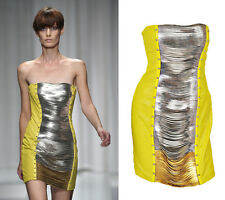 $11,350 NEW VERSACE YELLOW LEATHER METAL PANEL DRESS 40 - 4