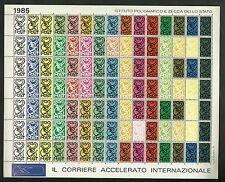 FOGLIETTO ERINNOFILO IPZS 1985 IL CORRIERE ACCELERATO INTERNAZIONALE 105 BOLLI