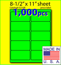 G210R, 1,000 Green Fluorescent Address Labels, 4x2
