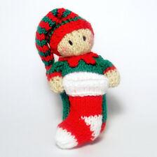 Christmas Elf Bitsy Baby knitting Pattern, a quick yarn stash knit