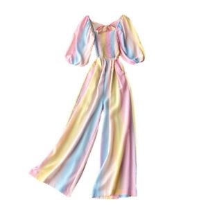 Lady Puff Sleeve Smocked Jumpsuit Romper Rainbow Stripe Wide Legs Fashion Casual