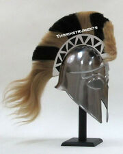 Medeival Greek Corinthian Knight With White And Black Plume Armor  Helmet