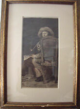 "WM MERRITT CHASE, WM UNGER ETCHING ""PORTRAIT OF FRANK DUVENICK"" 1876 FRAMED"