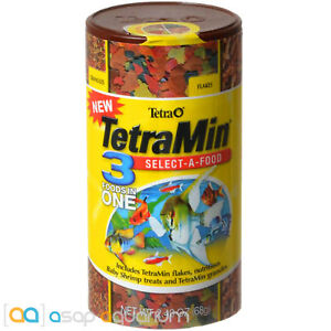 Tetra TetraMin Select-A-Food 2.4 oz 3-in-1 Fish Food Variety Pellet Flake Shrimp