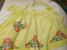 Lovely Vintage Organza Hostess Half Apron Yellow with Printed Handkerchief Trim