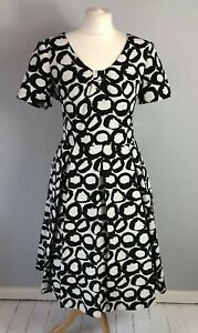M&S PER UNA Size 14 Black White Dot Bow Dress Autumn Winter Holiday Night Out