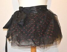 NEW  BLACK RED GLITTER SKIRT WRAP TUTU UNDERSKIRT BRIDAL FAIRY PETTICOAT XS-XXL