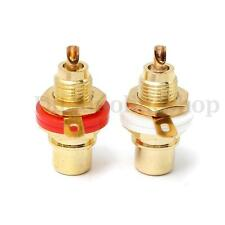2pcs White&Red Gold Plated Female RCA Jack Panel Mount Chassis Socket Connector