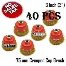 """40 PCS 75mm 3"""" Wire Wheel Fine Crimp Cup Brush For Angle Grinder"""