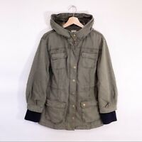 Halogen Army Green Utility Jacket Hooded Medium Womens Casual Olive M