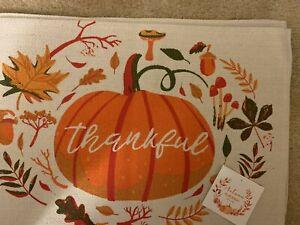 "Set of 4 ""Thankful"" Pumpkin Thanksgiving Fall Theme Placemats 13""x19"""