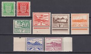 JERSEY 1941-44 WAR OCCUPATION ISSUES, SG #1-2 MH, #3-8 MNH WITH SELVEDGE