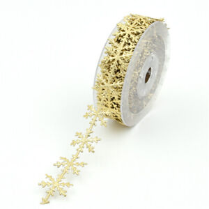 10m Gold Cut Out Snowflake Vine Lace Trim Christmas Sewing Ribbon Decoration