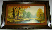 Vintage Signed PAINTING  Forest & River Autumn Leaves  Oil On Canvas Framed