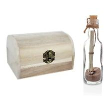 Message in a Bottle Gift with Wooden Treasure Chest Personalise for Any Occasion