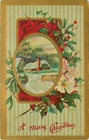DB Christmas Postcard L382 Snow Scene Vignette Holly White Flowers Cancel 1912