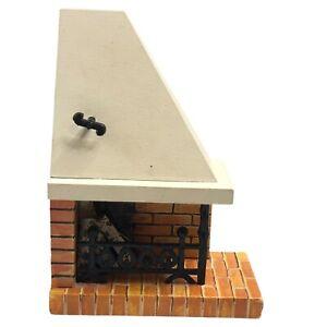Vintage 1970s Lundby Dollhouse Furniture Brick Corner Fireplace With Logs