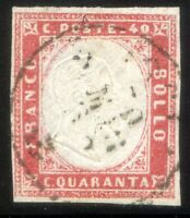 ASI Sardegna 1862 n. 16Ea 40 c. rosa chiaro - usato (s061)