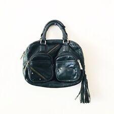 L.A.M.B. Purse Gwen Stefani Handbag Black Leather Tassel Moto Small Zipper Bag